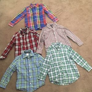 Lot of 5 long sleeve button down shirts for boys
